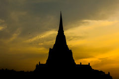 Sunset of Ayutthay Historical Park Stock Image