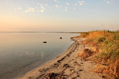 Sunset on the Azov estuaries. The Sea of Azov, Ukraine Stock Image