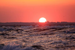 Sunset. On the Azov Sea in the Crimea, in the countryside, seaside Royalty Free Stock Photography