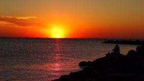 Sunset at Azov sea at fast speed stock footage