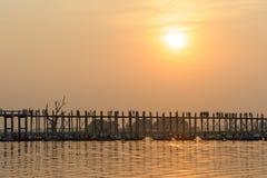 Sunset from b bein bridge, Myanmar Royalty Free Stock Images