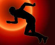 Sunset Back Male Sprinter Royalty Free Stock Image
