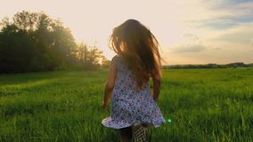 Sunset back shot of cute teenager girl wears dress runing on green meadow. 120 fps, slowmotion. stock video