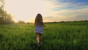 Sunset back shot of cute teenager girl wears dress runing on green meadow. 120 fps, slowmotion.