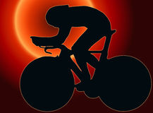 Sunset Back Sport Silhouette - Bicycle Racer Stock Photo
