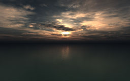Sunset Background. 3D rendering of a high quality and high resolution scenery of calm detailed ocean surface and setting sun with realistic computer generated Stock Photography