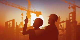 On a sunset background, an architect gives his instructions to the site manager. vector illustration
