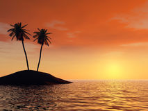 Sunset on a background of branches of palm trees. And the effective sky. The yellow sun with very beautiful reflection at ocean royalty free illustration