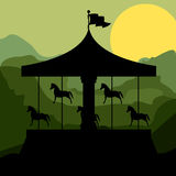 Sunset background merry go round with horses. Illustration Royalty Free Stock Photos