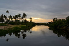 Sunset on backwaters Stock Photo