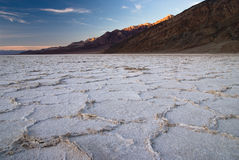 Sunset at bad water, death valley Royalty Free Stock Photo