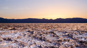 Sunset at Bad water point in Death Valley Stock Photos