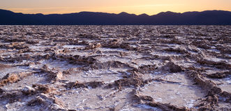 Sunset at Bad water point in Death Valley Royalty Free Stock Image