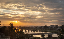 Sunset with Badajoz bridges Royalty Free Stock Photography