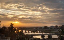 Sunset with Badajoz bridges Royalty Free Stock Photography