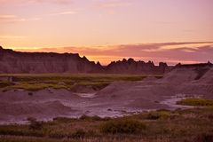 Sunset in the Badlands Stock Photography