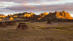 Sunset in the South Dakota Badlands. We were hiking to our wilderness camping spot near Interior, South Dakota at sunset. I couldn't resist pausing to take Stock Image