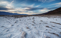 Sunset at the Badwater Basin. Royalty Free Stock Photography