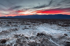 Sunset at the Badwater Basin. Royalty Free Stock Image