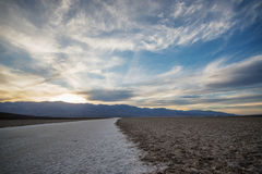Sunset at the Badwater Basin. Stock Photography