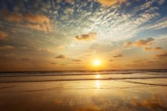 Sunset on Baga beach. Goa. Sunset with dramatic sky on Baga beach. Goa, India stock photos