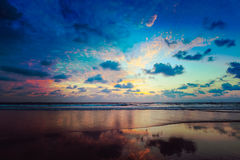 Sunset on Baga beach. Goa Royalty Free Stock Images