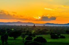 Sunset at Bagan. Beautiful golden hour during sunset at Bagan, Myanmar royalty free stock image