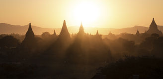 Sunset at the Bagan landscape Stock Image