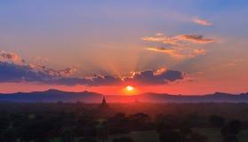 Sunset. At Bagan, Myanmar stock image