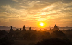 Sunset at Bagan  Myanmar, silhouette pagodas Royalty Free Stock Photography