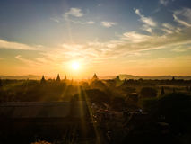 Sunset at Bagan  Myanmar, silhouette pagodas Stock Image