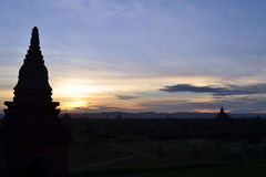 Sunset at Bagan Temple Royalty Free Stock Image