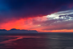 Sunset in Bagheria near Palermo in Sicily, Italy Stock Image