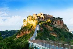 Sunset in Bagnoregio Stock Photography