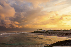 Sunset in the Bahamas. Stunning sunset on the shore of the Bahamas stock images