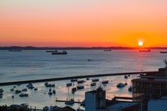 Sunset in Bahia, Brazil. SALVADOR, BAHIA - JUNE 22: Sunset view from Pelourinho district of Salvador de Bahia, Brazil on June 22, 2016 stock images