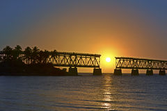 Sunset at Bahia Honda Bridge Stock Photos