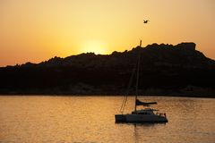 Sunset on Baia Santa Reparata Stock Images