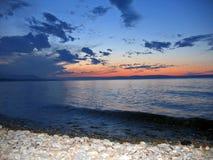 Sunset on the baikal lake stock photos