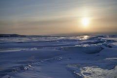 Sunset on the Baikal lake Stock Photography