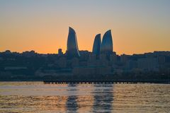 Sunset in Baku - city of fires Royalty Free Stock Images
