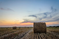 Sunset with Bales Royalty Free Stock Images