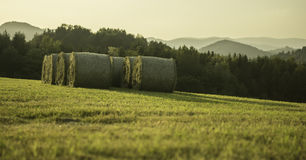 Sunset and Bales Royalty Free Stock Photography
