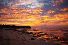 Sunset in Bali. Sunset on the beach in Bali stock photography