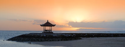 Sunset in bali beach Royalty Free Stock Photo