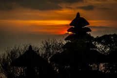 Sunset in Bali. Near local temple Stock Photo