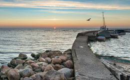 Sunset at the Baltic bay in Nida Royalty Free Stock Photos