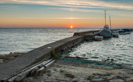 Sunset at the Baltic bay in Nida Stock Images
