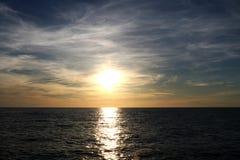Sunset on the Baltic Sea with a beautiful sky, background. Palanga, Lithuania stock photography