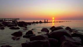 Sunset on Baltic sea stock footage